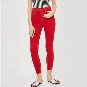 TopShop Moto Red Denim High Rise Skinny Jeans W34